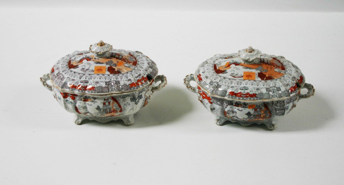 4: A good pair of Masons Ironstone Soup Tureens, early
