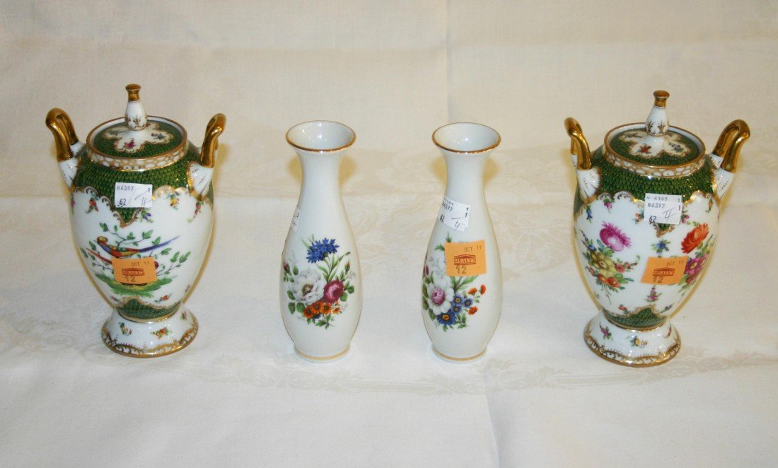 12: A pair of attractive Dresden porcelain Urns and Cov
