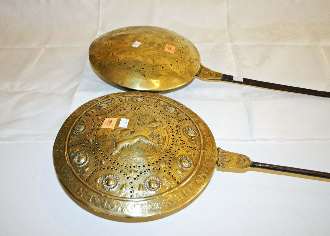 16: A large pierced brass and copper mounted Bed Warmer