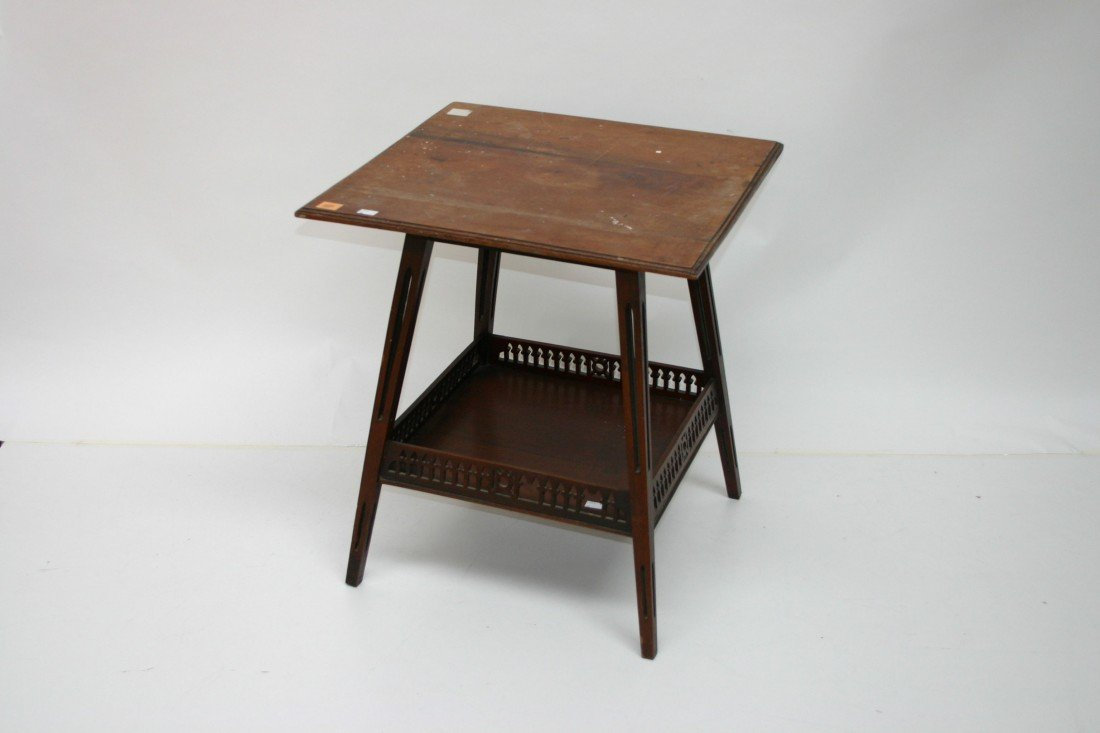 609: A square top Edwardian two tier occassional table,
