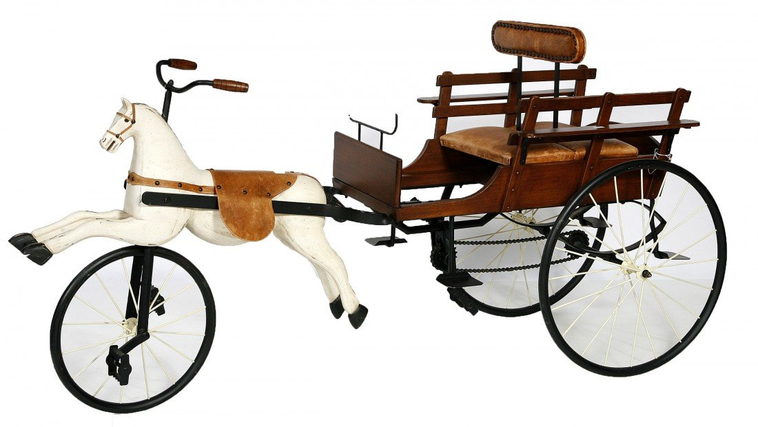 616: A child's pedal operated horse and cart,  20th cen