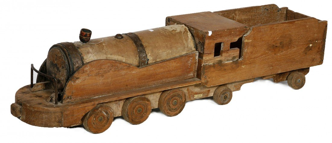 617: A French wooden Locomotive Tender, 19th Century, w