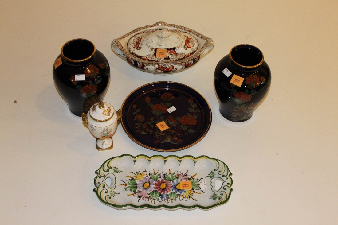 2: Two Faience type Trays or Dishes, a pair of baluster