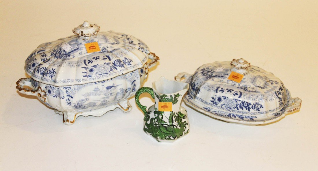 7: A blue and white Masons Ironstone Soup Tureen and co
