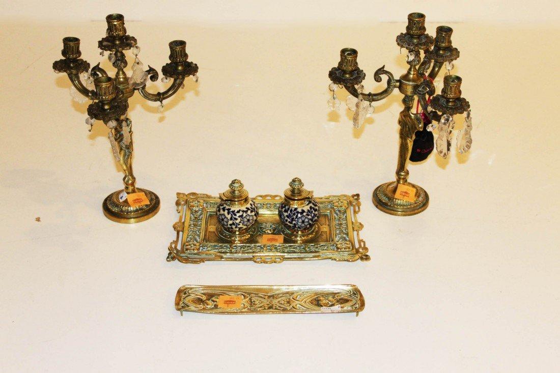 9: A pair of three branch four light brass Candelabra,