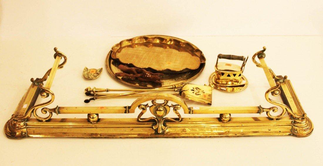 "11: A brass Fender, Art Nouveau, 55"" (140cms), with scr"
