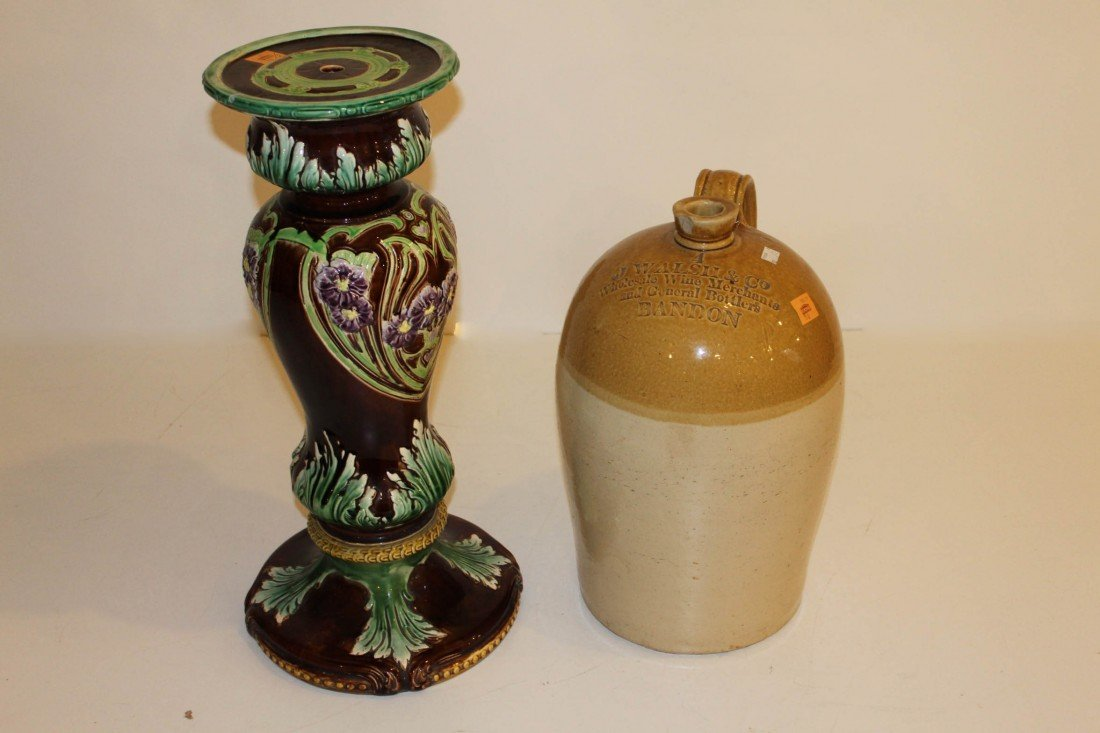 16: A Majolica Jardiniere, of baluster form in various
