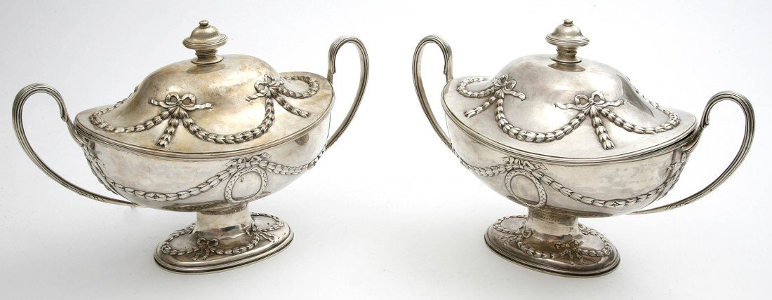280: A fine pair of silver vase shaped Soup Tureens & C