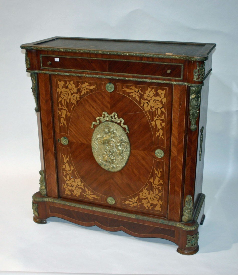 701: A Continental brass mounted and marquetry Side Cab