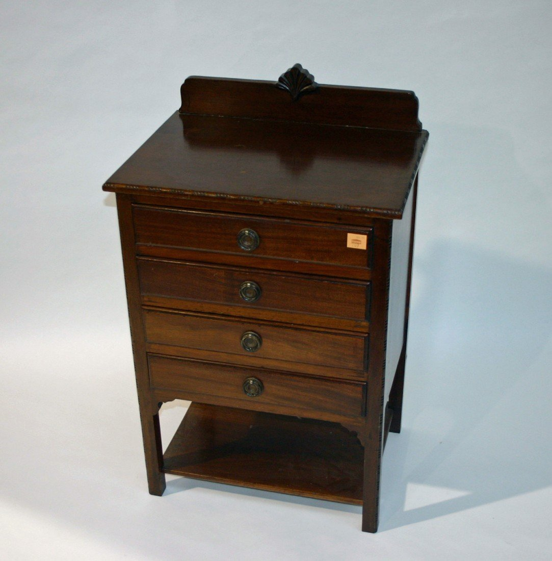 707: A four drawer mahogany Music Chest, on square legs