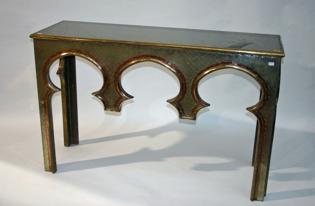 710: A brass, copper and silver plated console table, i