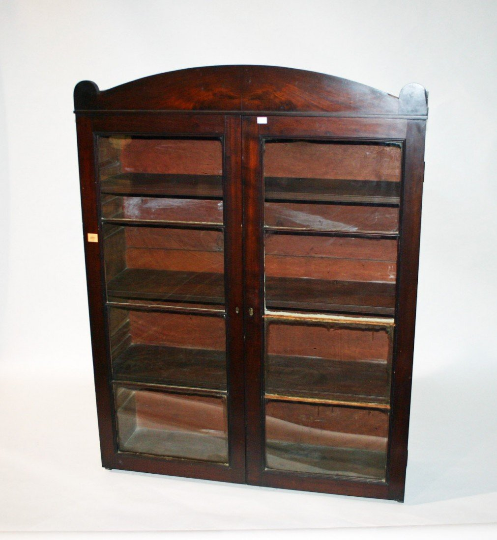 722: A mahogany bookcase top, George IV period, with ar