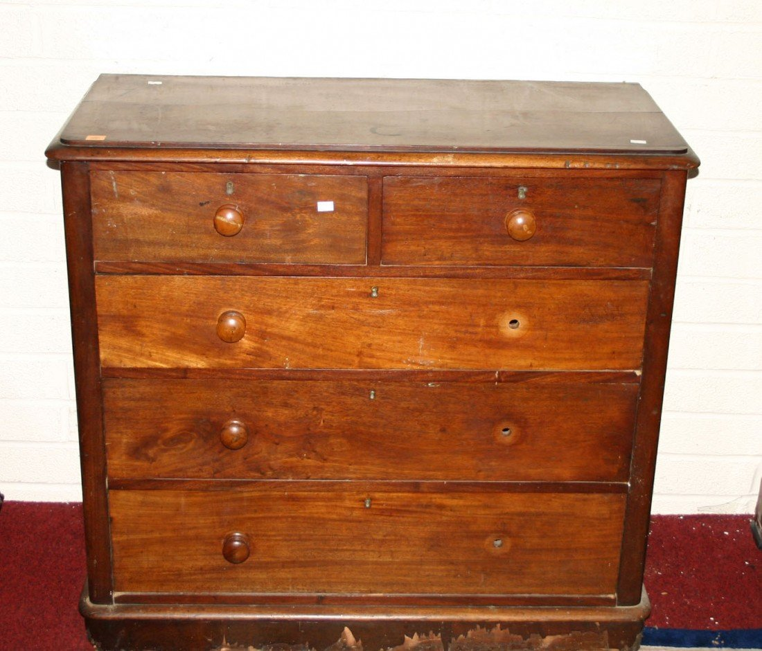 723: A mahogany Chest, Victorian, with three long and t