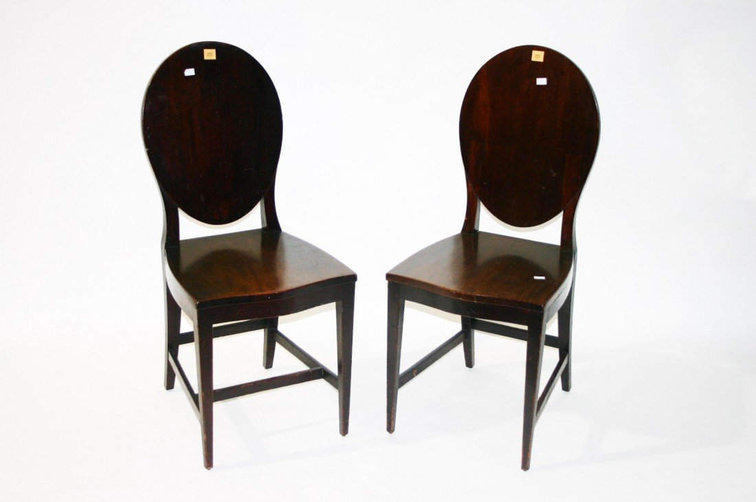 724: A pair of mahogany Hall Chairs, 19th Century, each