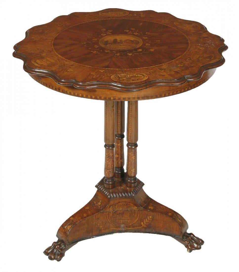 1102: A very fine Killarney yew and walnut centre table