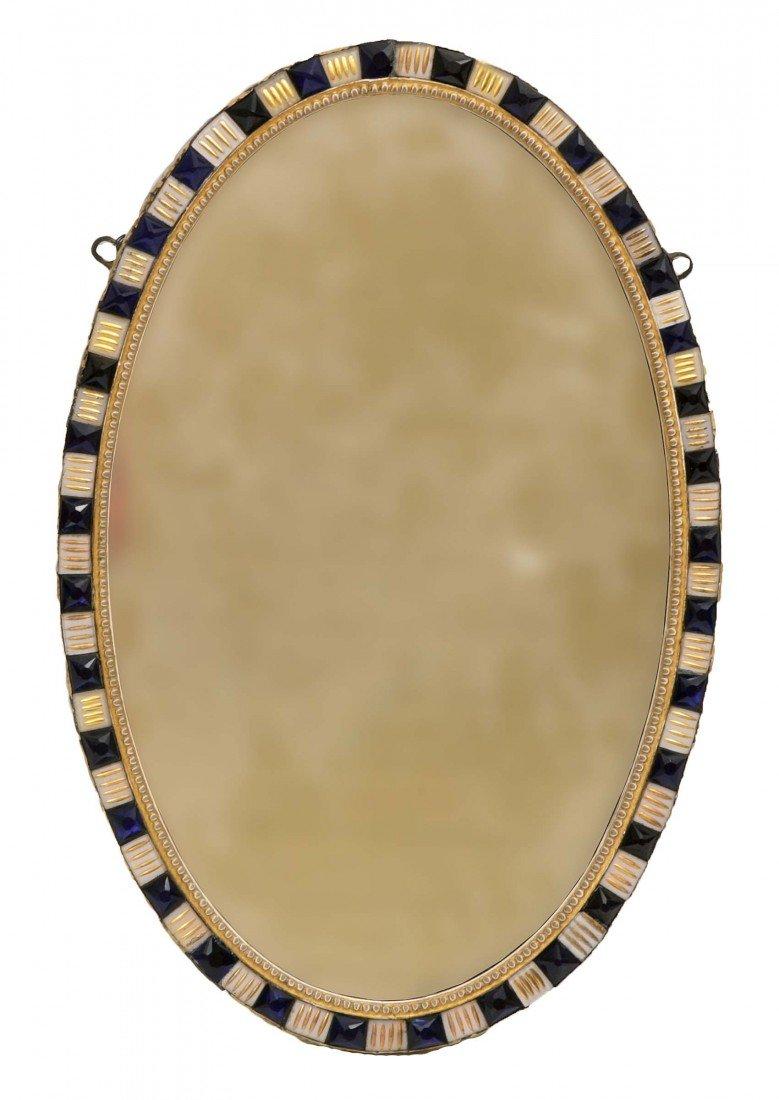 1130: A very good Irish oval parcel gilt Wall Mirror, l