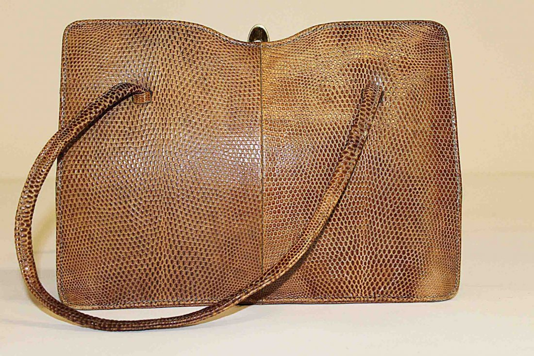 12: A reptile skin ladies hand bag by Gold Arrow. (1)