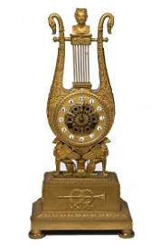 366: A fine gilt bronze French Empire lyre clock, early