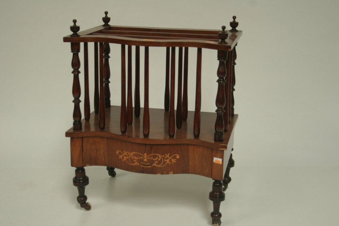 701: An inlaid walnut canterbury, late Victorian Irish,