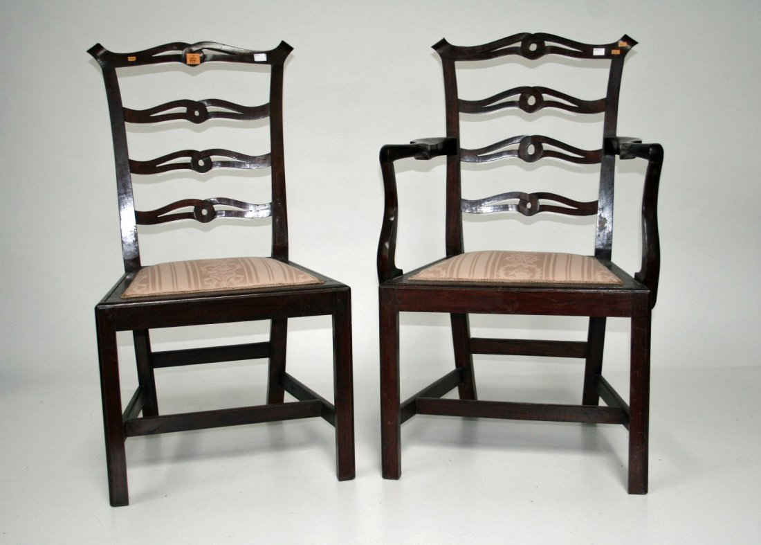 717: A set of eight (6+2) Chippendale style mahogany la