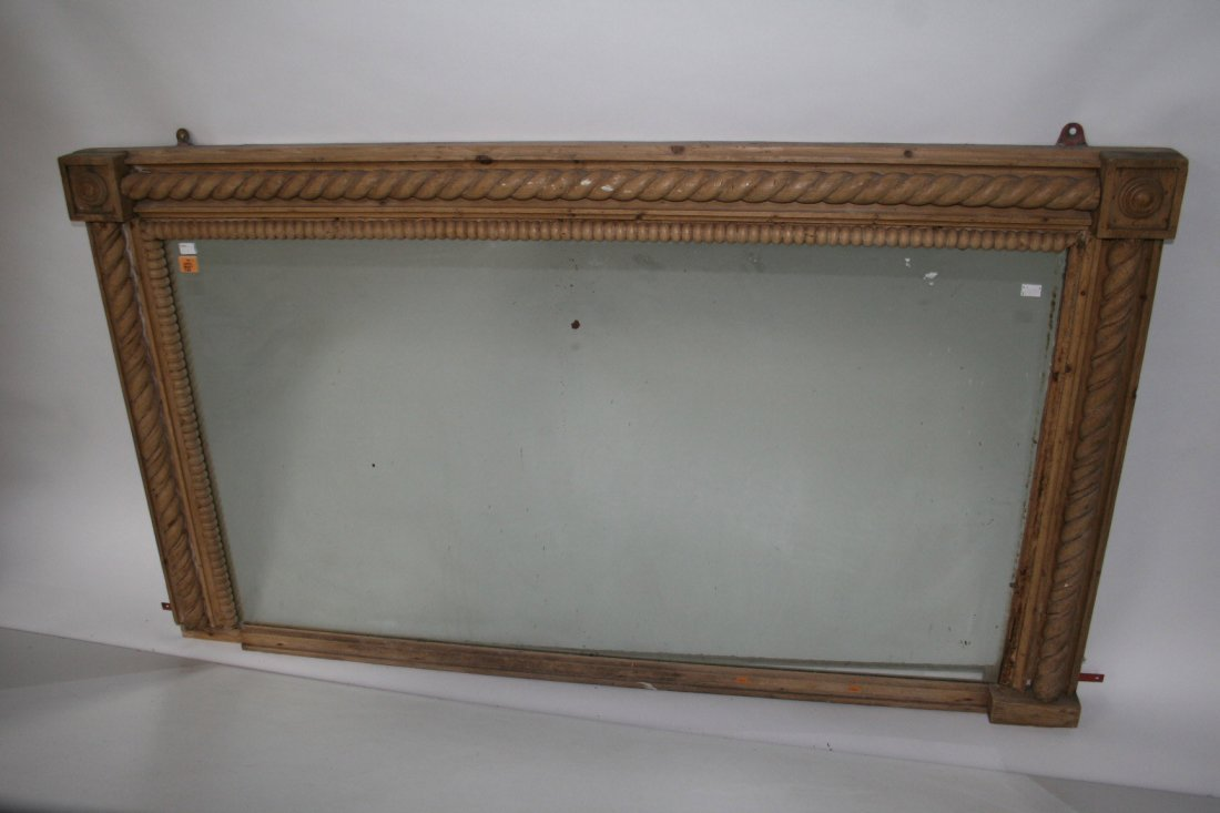 720: A pine overmantel mirror, 19th century, with bead