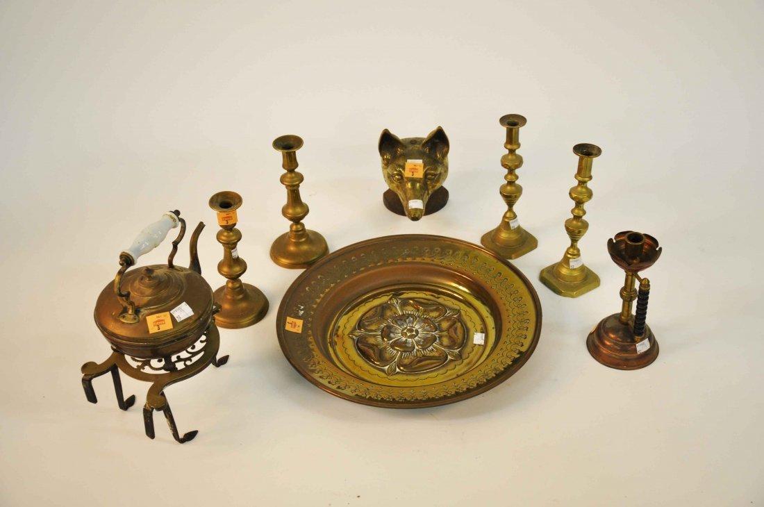 3: A pierced brass trivet on iron legs; a brass tea ket