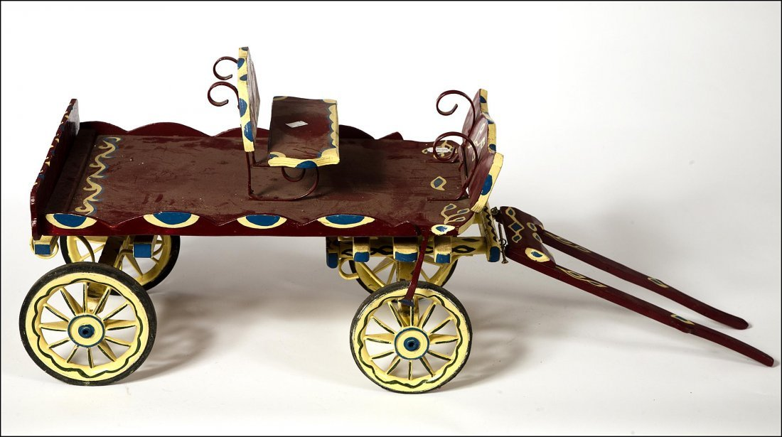 8: An painted miniature model of a wagon, inscribed Scr