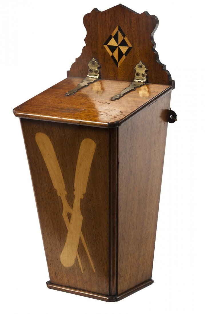 25: A inlaid mahogany cutlery box, 19th century, the fr