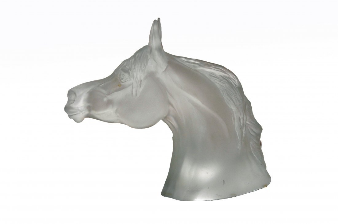 245: A fine Baccarat frosted glass head study of a hors