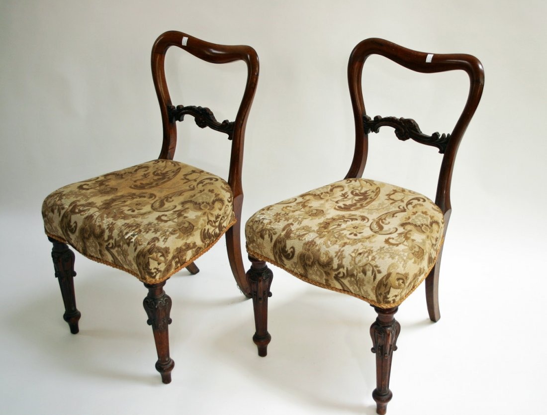 602: A pair of unusual rosewood side chairs, Victorian,