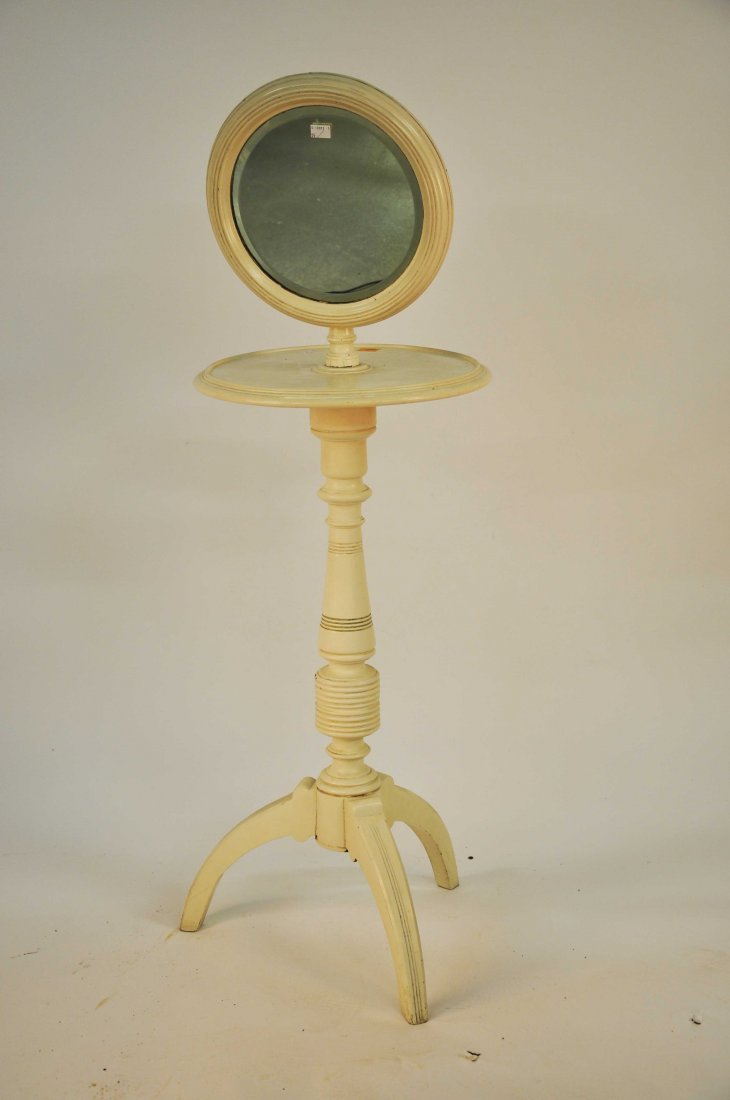 604: A painted cream-coloured shaving stand, Edwardian,