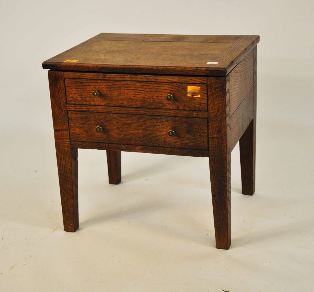 613: An ebony strung oak night-time commode, the hinged