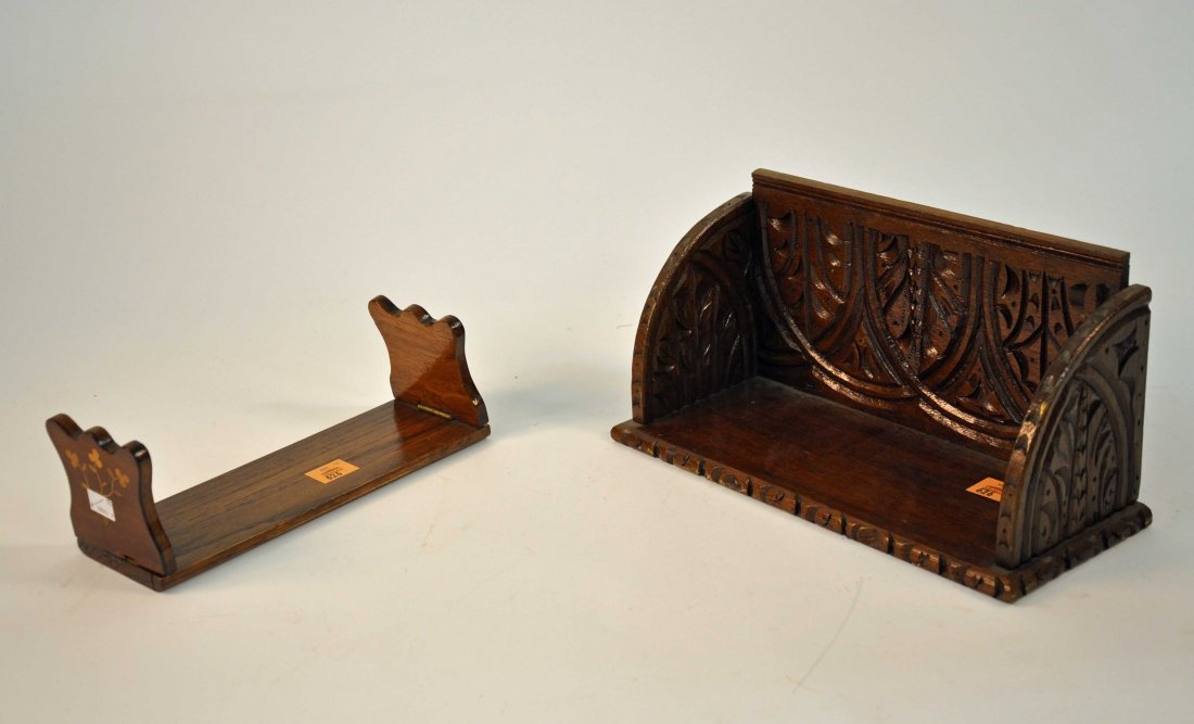 626: A Killarney yew wood book stand with marquetry inl