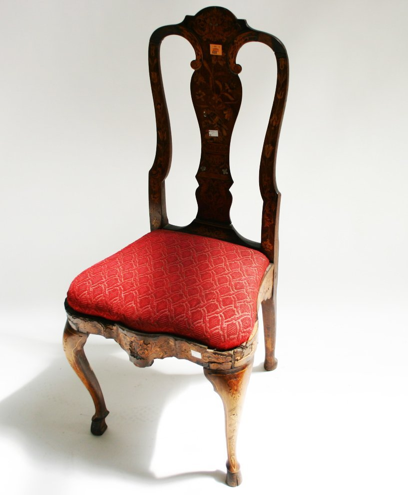 638: A Dutch floral marquetry side chair, 18th century,