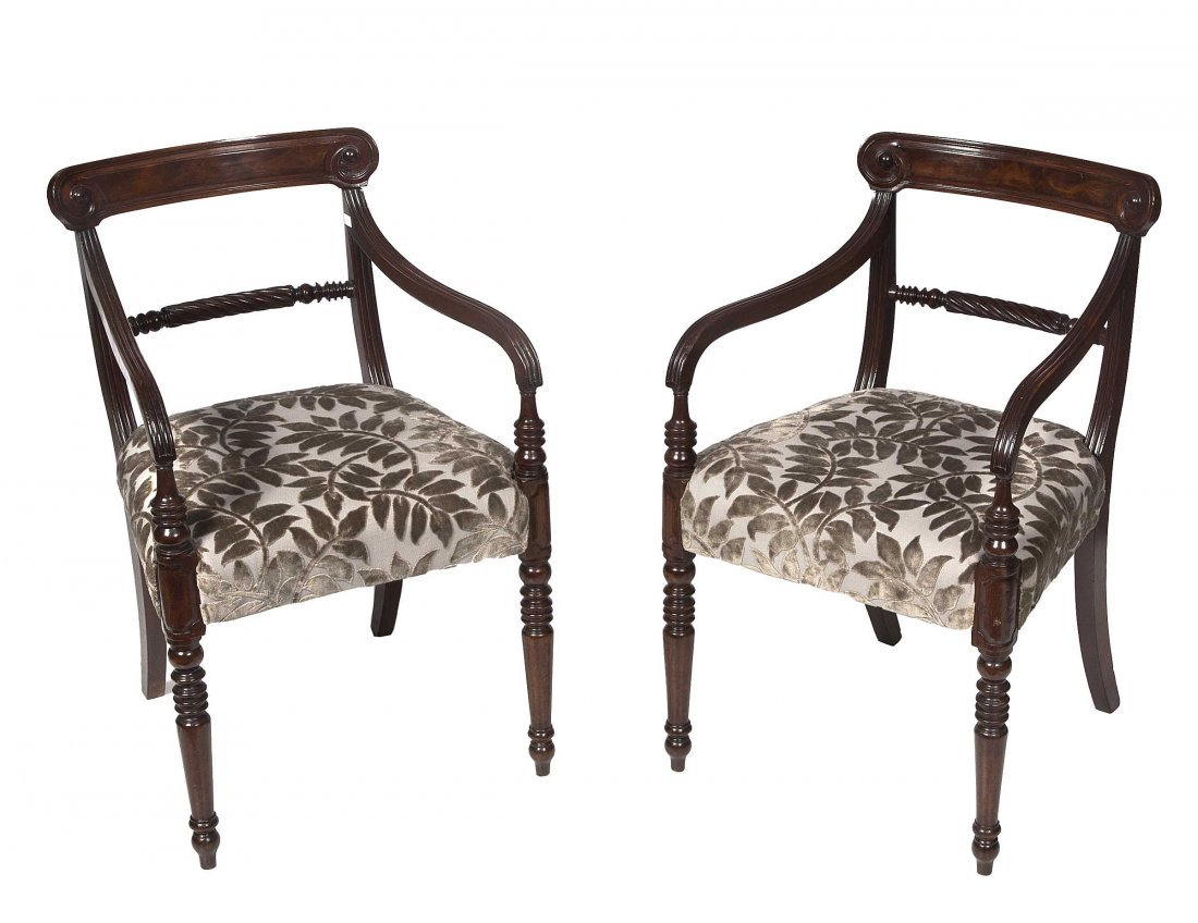 640: A pair of mahogany dining room armchairs, George I