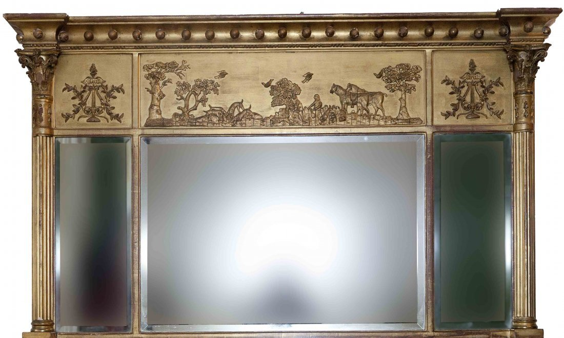 646: An attractive gilt overmantel, Regency period, the
