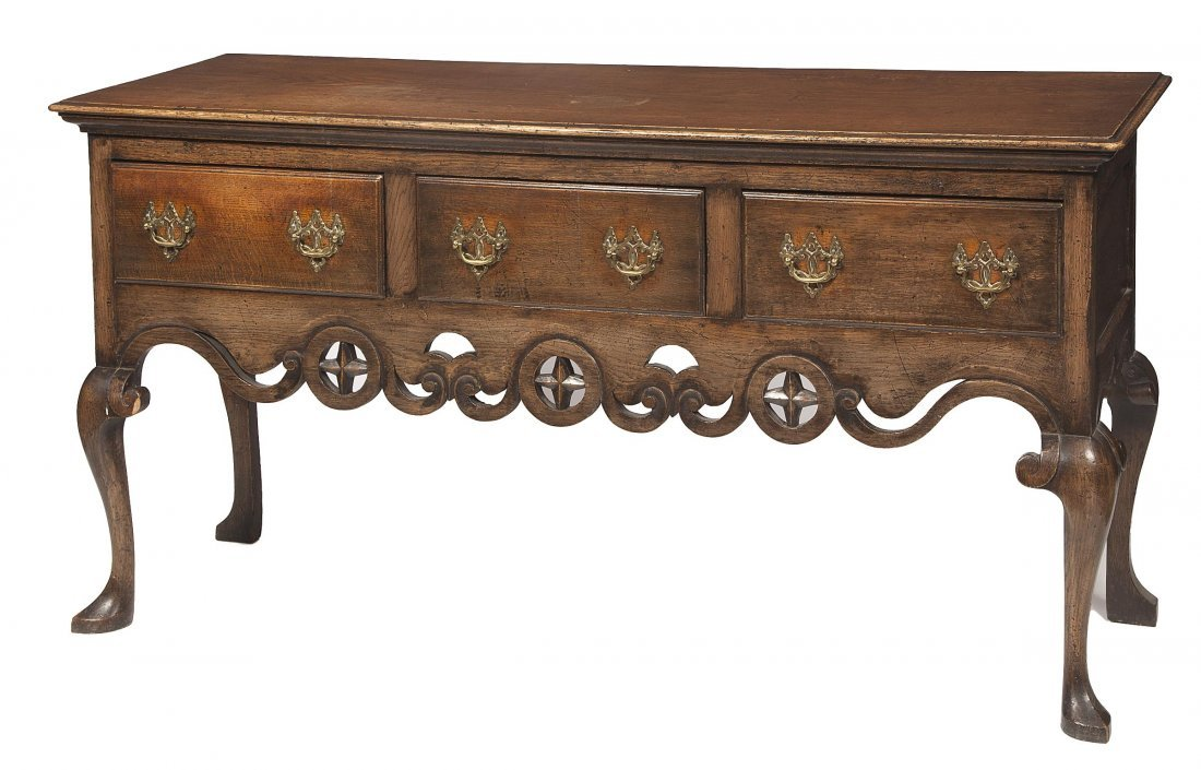 648: An oak dresser base, in the 18th century style, th