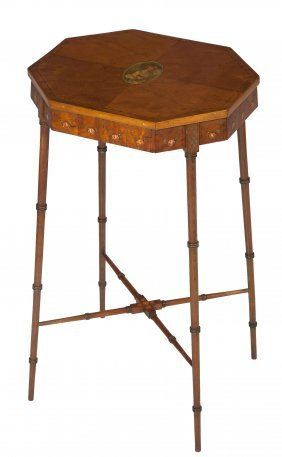 An Octagonal Satinwood And Decorated Occasional Ta