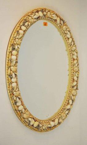 An Oval Shell-encrusted Wall Mirror, Modern, 32.5'