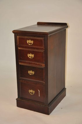 A Pair Of Four-drawer Walnut Chests, Edwardian, Ea