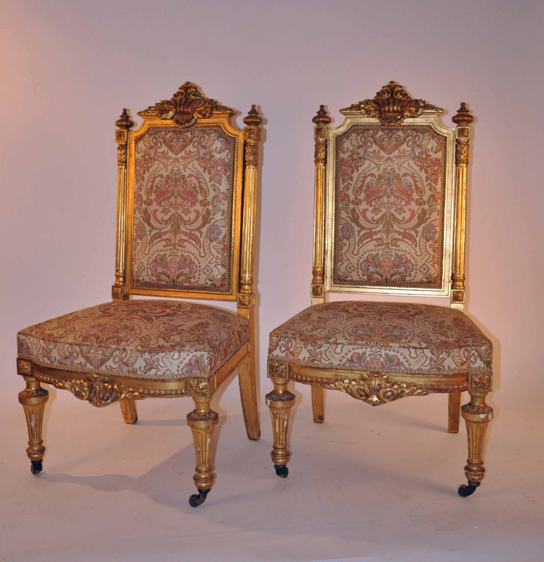 873: A good set of four carved giltwood side chairs,  1