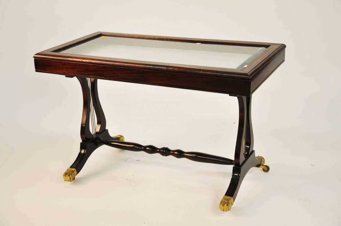 874: A modern inlaid mahogany curio display table,  in
