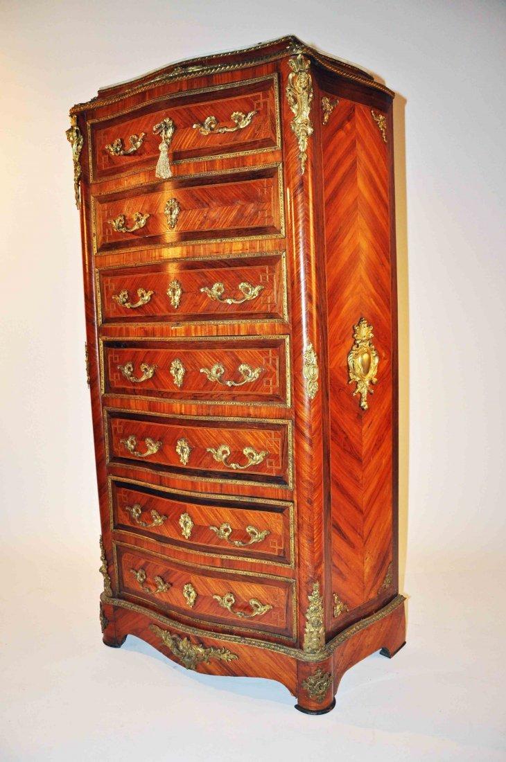 875: A French kingwood and  brass mounted Bureau à Abat