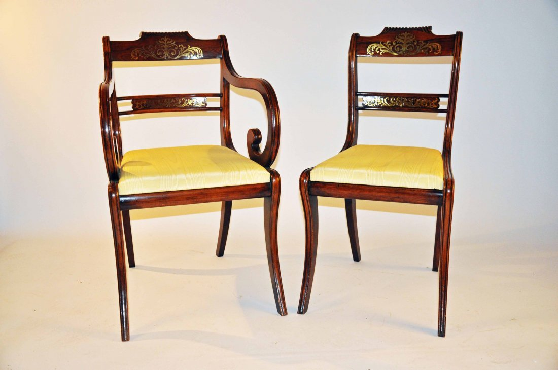878: A set of eight brass inlaid rosewood dining chairs