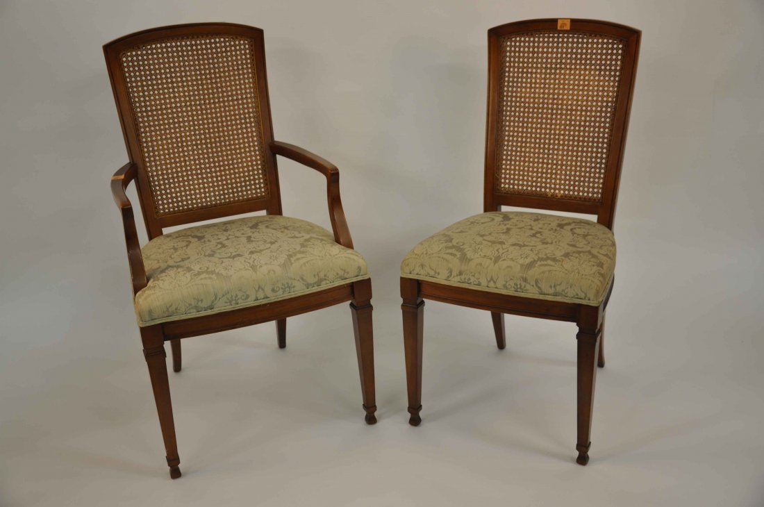881: A set of eight (6+2) modern bergère dining chairs,