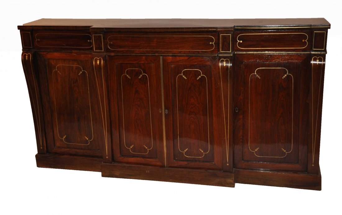 887: A brass inlaid rosewood side cabinet, Regency peri