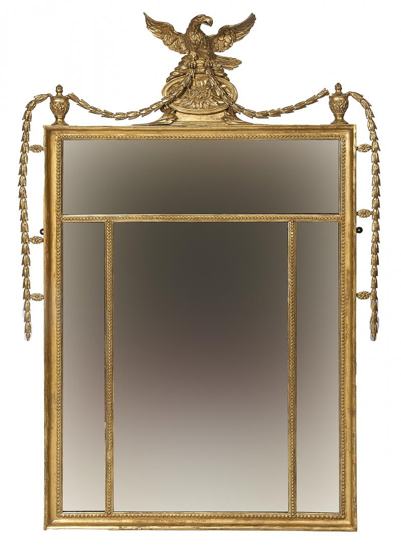893: A gilt and gesso wall mirror, George III period, t