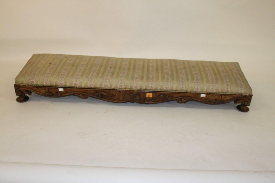 895: An oblong slope top walnut fender stool, Victorian
