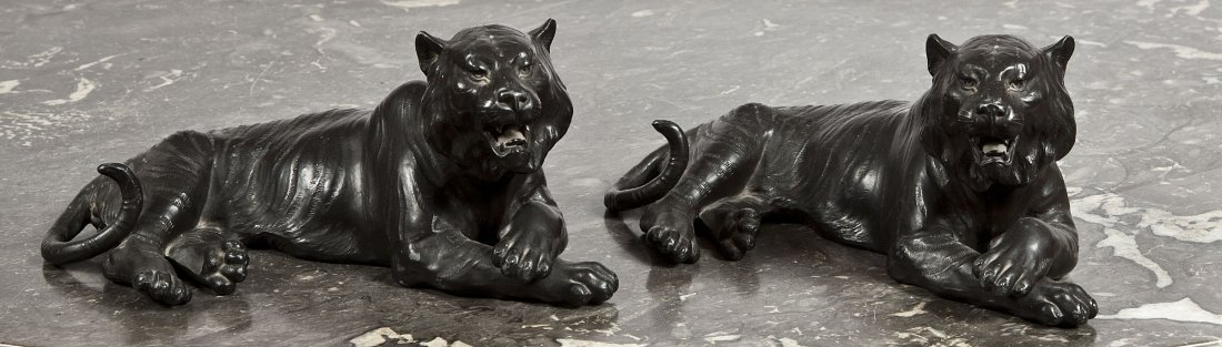 4: Two Japanese black-painted Spelter Figures,