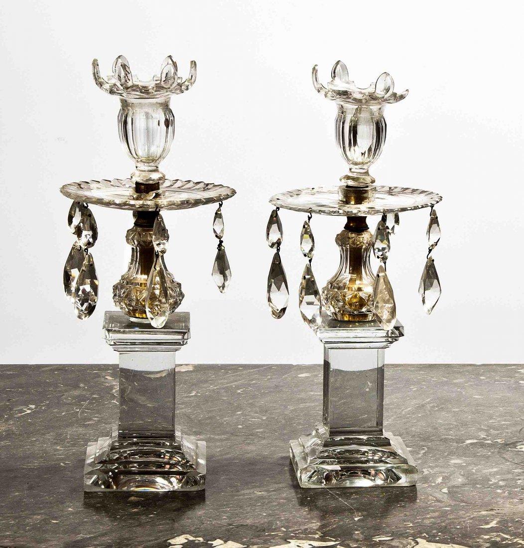 11: A pair of cut-glass lustre Candlesticks,